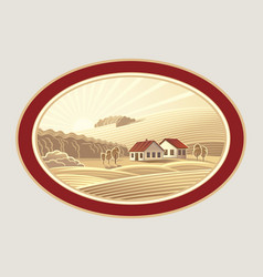Rural landscape in the frame a graphic design vector