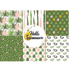 Summer nature seamless patterns vector