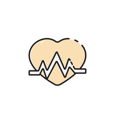 Flat color heartbeat icon vector