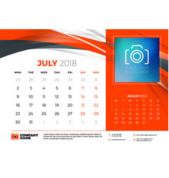July 2018 desk calendar design template with vector