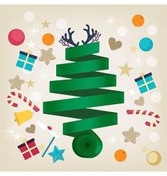 Twirled ribbon christmas tree card design vector