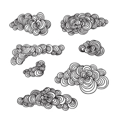 Set of decorative hand drown clouds vector