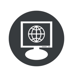 Round globe monitor icon vector