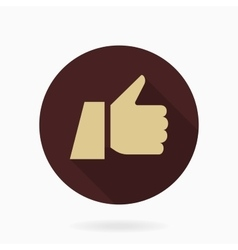 Fine flat icon with thumb up vector
