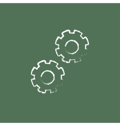 Gears icon drawn in chalk vector