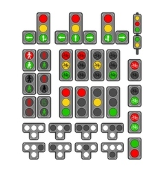 Set of types traffic lights vector