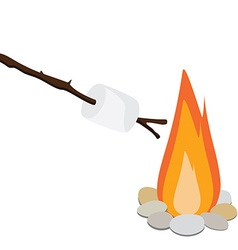 Marshmallow on wooden stick vector image