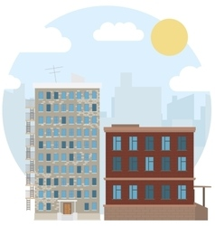 Day urban landscape city estate round flat icon vector