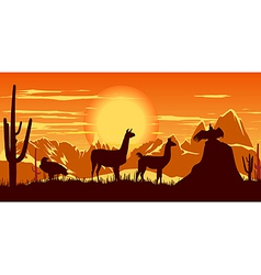 Llamas wildlife background vector