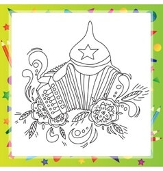Coloring book for children - musical instruments vector