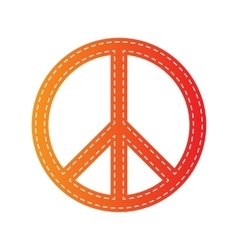 Peace sign  Orange applique isolated vector image