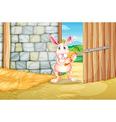 A bunny holding a carrot inside the barn vector image vector image