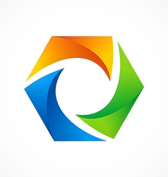 abstract 3D polygon color logo vector image