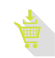 Add to shopping cart sign pear icon with flat vector