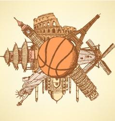 Basket ball buildings vector