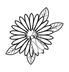 Bee on the flower icon in outline style isolated vector