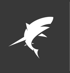 Black and white shark logo with minimalism vector