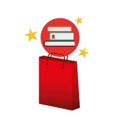 Books red bag gift star design vector