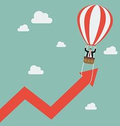 Businessman on balloon pull arrow graph up vector
