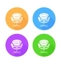 BYOD flat long shadow icons vector image vector image