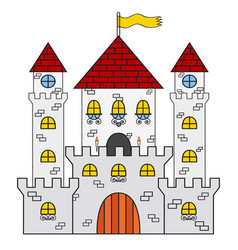 Castle icon made in cartoon flat style medieval vector