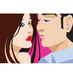 couple kiss vector image vector image