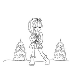 fashion girl - doodle vector image