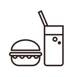 fast food hamburger and drink icon vector image vector image