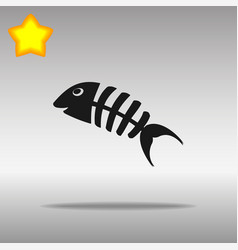 Fish bone black icon button logo symbol vector
