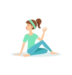 Half twist ardha matsyendrasana yoga pose vector