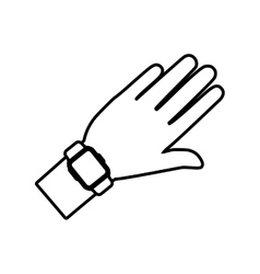 Hand and smart watch wearable technology outline vector