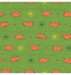 Happy pink piggies with green background vector