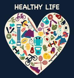 healthy life set fitness sport vector image