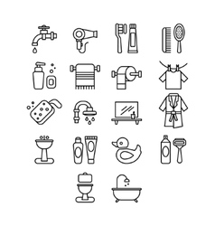 Hygienic and Bathroom Icons Set Linear vector image