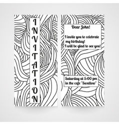 Invitation with abstract hand drawn doodle pattern vector