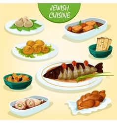 Jewish cuisine icon with festive dinner menu vector image