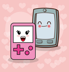 Kawaii smartphone gamepad image vector