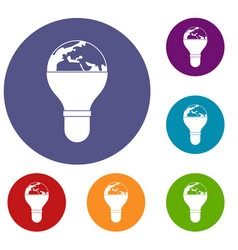 Light bulb and planet earth icons set vector
