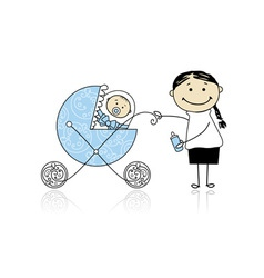 Mother with baby in buggy walking vector image vector image