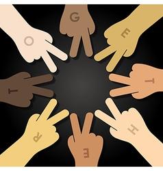 multiracial human hands making a star shape vector image