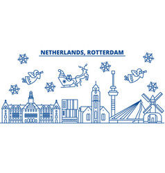 Netherlands rotterdam winter city skyline merry vector