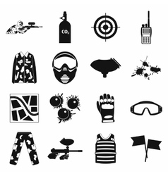 Paintball game simple icons set vector