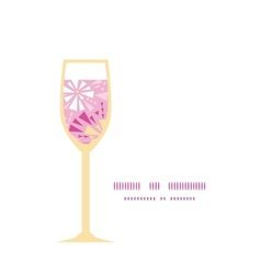Pink abstract triangles wine glass silhouette vector