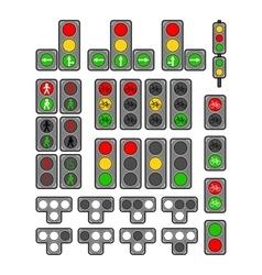Set of types traffic lights vector