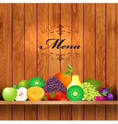Shelves wooden fruit2 vector image vector image