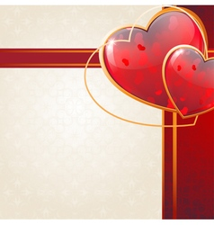 Valentines Day card with sparkling hearts and vector image vector image