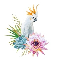 Watercolor parrot with flowers vector