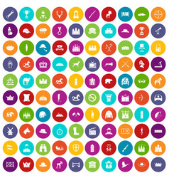100 horsemanship icons set color vector