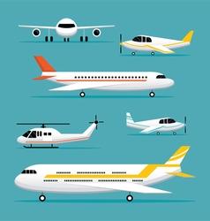 Plane light jet objects flat design set vector