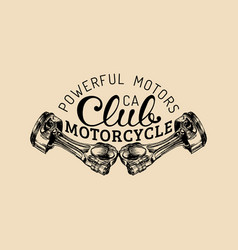 powerful motors vintage motorcycle club vector image